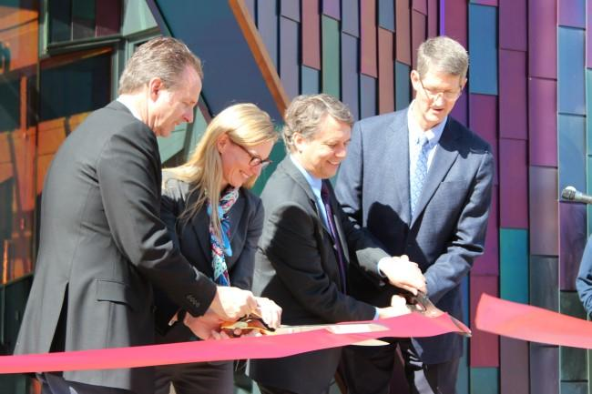 (from left to right) Developer Fred Merrill, executive director Uli Sailer Das, Kansas Lt. Gov. Jeff Colyer, and Overland Park mayor Carl Gerlach cut the ribbon to mark the official opening of the museum.