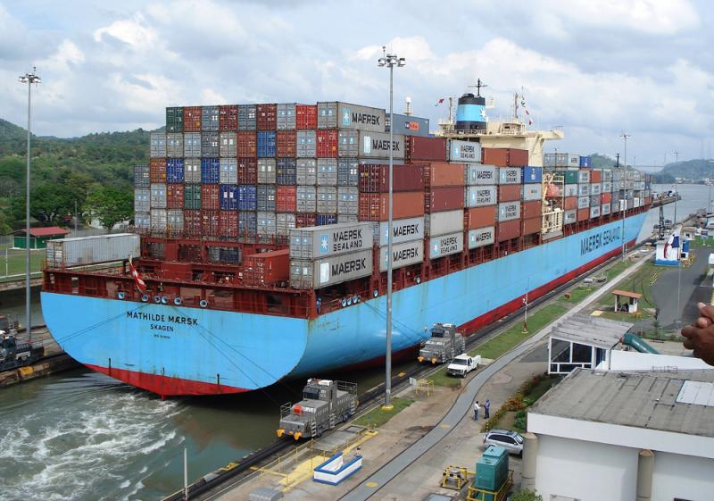 A loaded container ship passes through the Miaflores Locks on the Panama Canal in 2006.