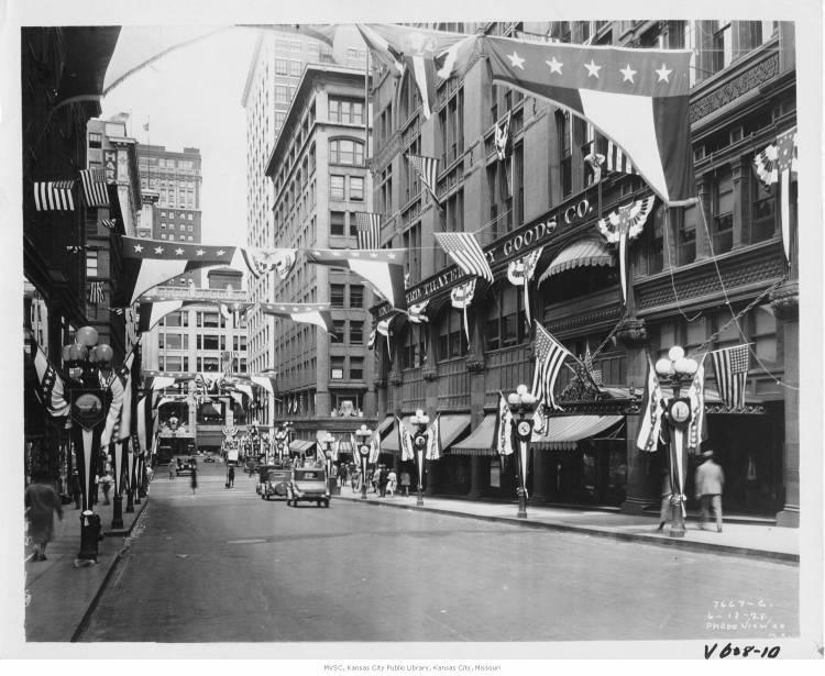 These buildings at 11th and Grand, and many others in Kansas City, were decked in American flags for the 1928 Republican National Convention.