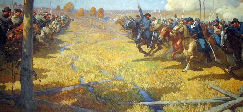 A mural by Newell Convers Wyeth that depicts fighting at Brush Creek during the Battle of Westport.
