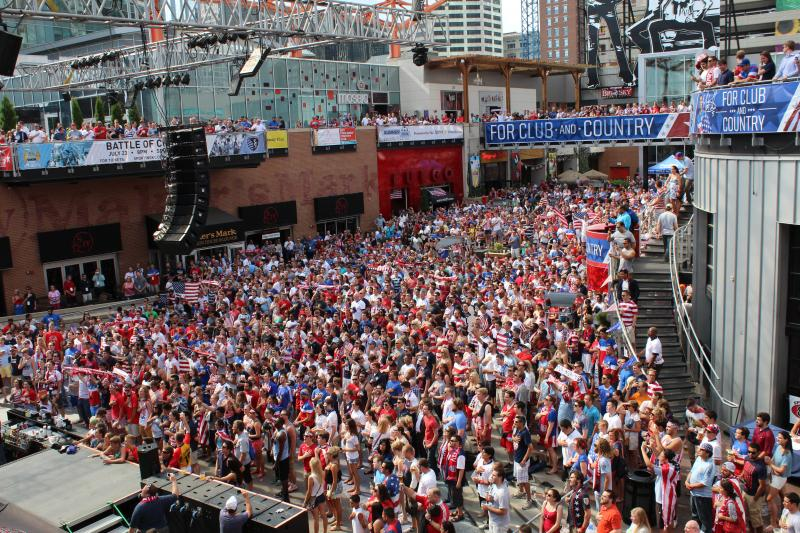 Swarms of soccer fans packed the Power and Light District to watch the United States beat Ghana 2-1 in last night's World Cup match.