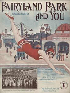 "Sheet music cover to ""Fairyland Park And You"" refelcts all the park's activities."