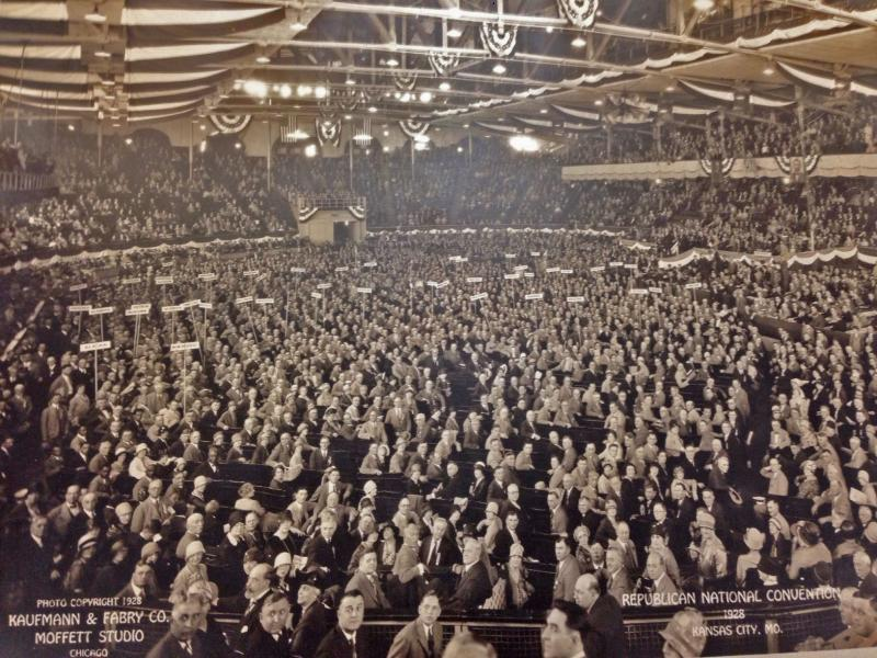 State delegates, party members, and reporters filled nearly every seat in Convention Hall during the 1928 Republican National Convention.