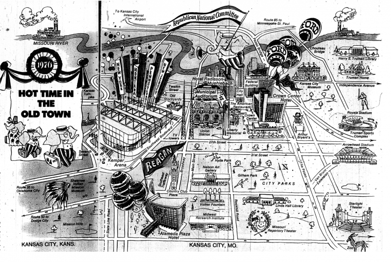 A cartoon map that shows off many of the major landmarks and important areas in 1976 Kansas City.