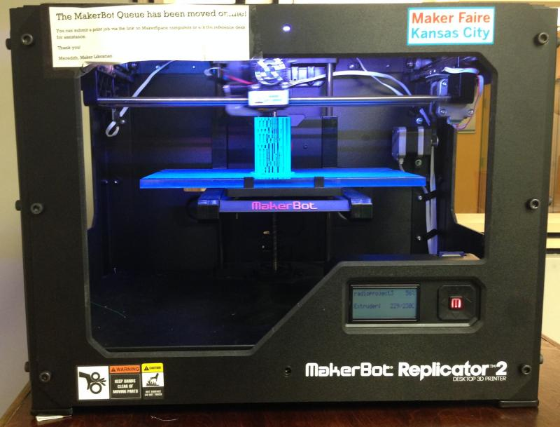 The 3-D printer is one of many high-tech gadgets available at the Johnson County Library's Maker Space.
