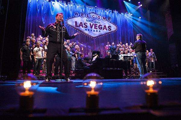 Todd Jordan Green sings 'Don't Be Cruel'  during rehearsal for the closing show of the 28th season of the Heartland Men's Chorus.   The tribute to Las Vegas features magicians, showgirls and aerial acrobatics.