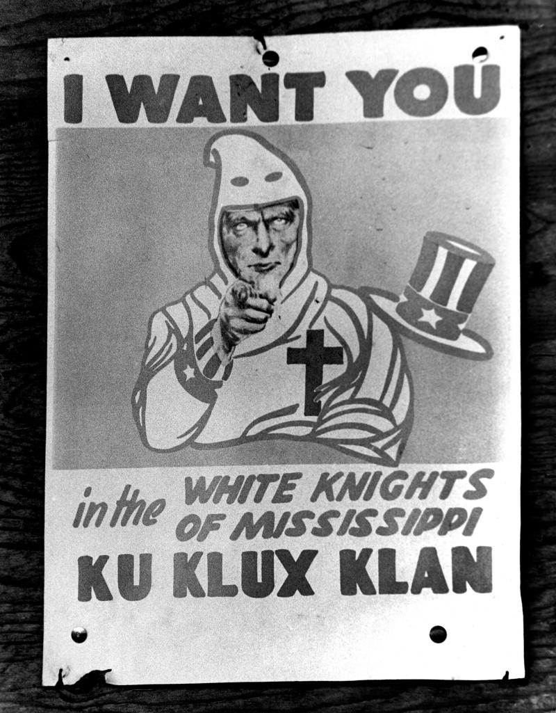 Federal Voter Registrars enforce Voting Rights Act pf 1965 Recruiting poster of the White Knights of the Mississippi Ku Klux Klan.