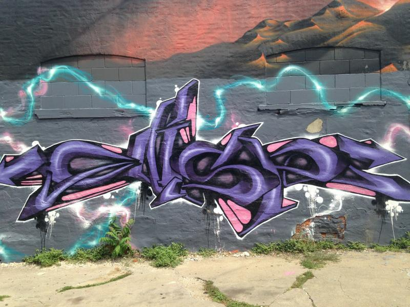 This work by graffiti writer and street artist Gear is at The Mercy Seat Tattoo and Art Gallery at 210 E. 16th St., Kansas City, Mo.