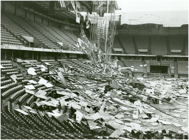 In June 1979, pooling rainwater, loose bolts and pressurized drain pipes caused Kemper Arena's roof to collapse.