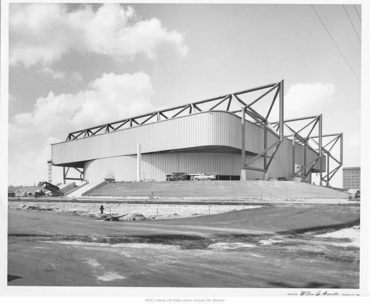 A photo of Kemper Arena during the last phases of its construction in 1974.