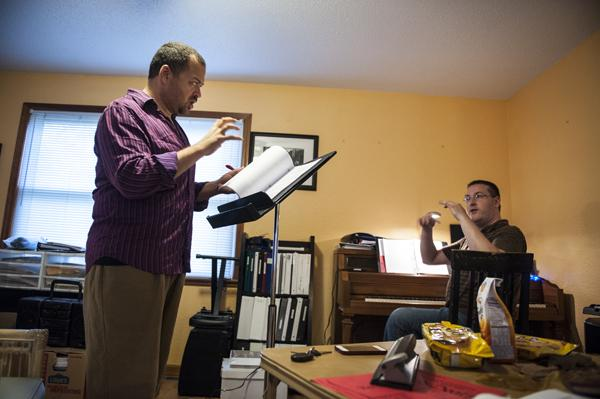 Granner and composer Daniel Doss work through a key change in Doss' home  studio space.