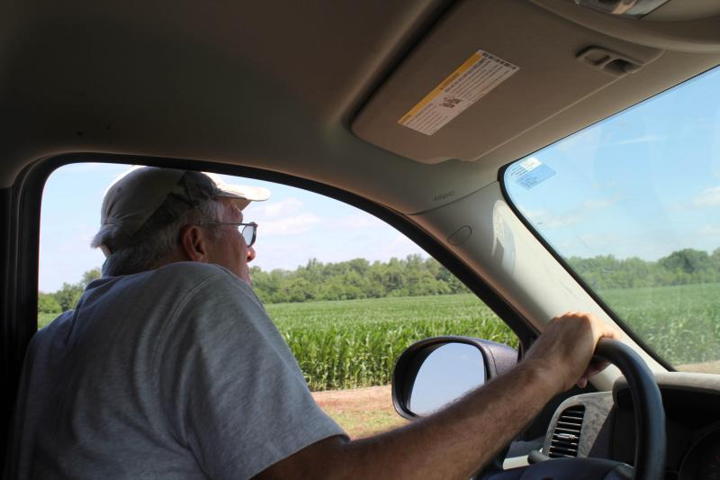 From his pick-up truck, Roger Hargrafen assesses the Palmer amaranth on his field, where some plants that clearly have been sprayed with herbicide have not completely died.