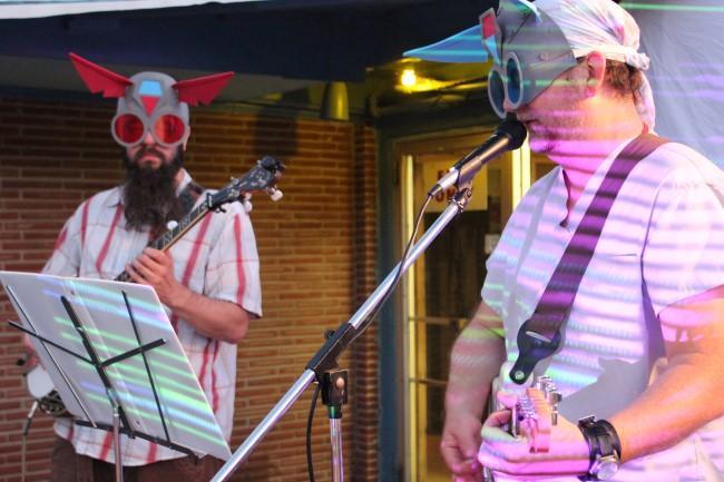 Matt Hawkins and David Cedillo perform in Beep Goes The Weasel.