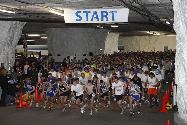 Runners take off for the Groundhog 10K in SubTropolis, which takes place entirely underground.