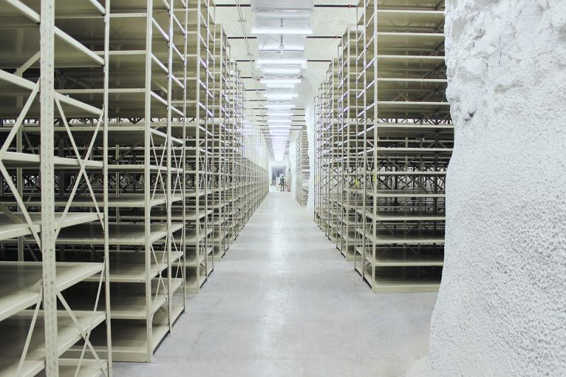 This photo shows the rows of racks that the National Archives will soon be storing boxes of records on in SubTropolis.