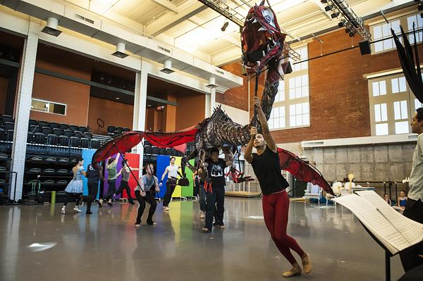 A 25-foot wingspan makes this Jabberwocky puppet a frightful foe in the hands of dancer Lamin Pereira dos Santos.