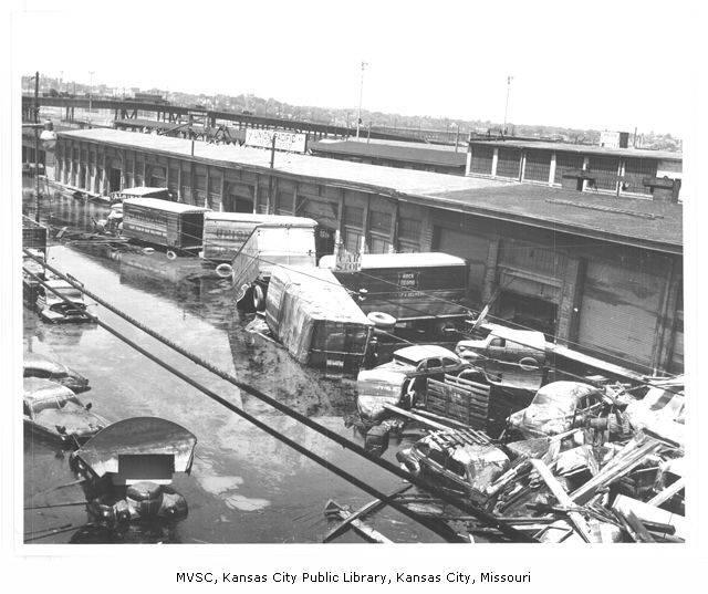 Rail cars at the Union Pacific Freight Depot in Kansas City, Mo., were damaged by a flood in 1951, which forced entire communities out of the area.