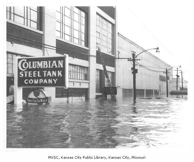 Floodwaters inundated West Bottoms in the summer of 1951, displacing entire Hispanic communities. Many Hispanic families relocated across the Missouri-Kansas state line in search for higher ground.