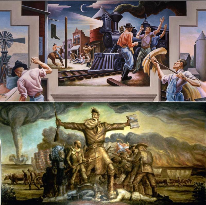Old West dramas on Statehouse walls: A detail of Thomas Hart Benton's murals at the Missouri State Capitol (above), and John Steuart Curry's 'Tragic Prelude' at the Kansas State Capitol.