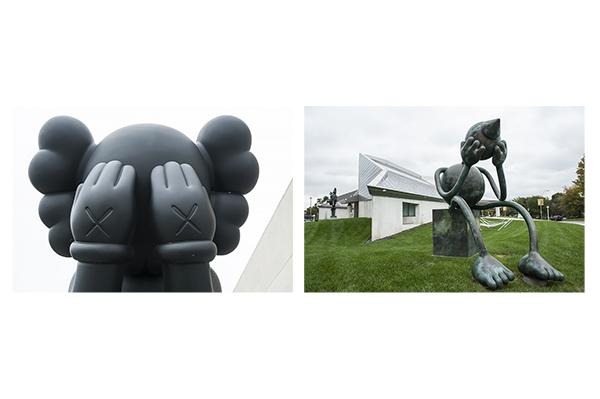 Big clown-like figures in 'Thinker'-like poses:  'Companion (Passing Through),' KAWS, Nerman Museum of Contemporary Art in Overland Park, Kan., and 'Crying Giant,' Tom Otterness, Kemper Museum of Contemporary Art in Kansas City, Mo.