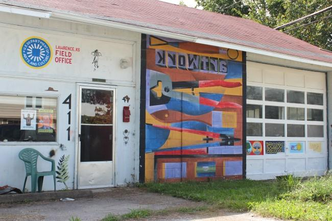 Artwork and studios, like artist Dave Loewenstein's on E. 9th Street, are not uncommon in East Lawrence.