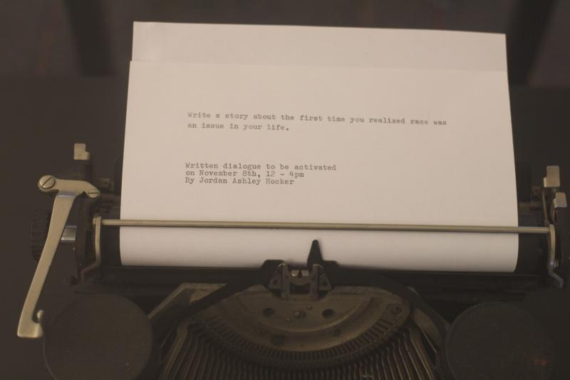 One of Hocker's typed prompts on the typewriter. It will be activated by the public at an event on November 8.