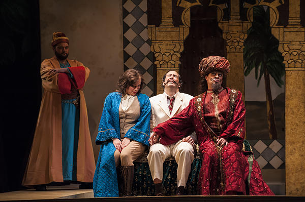 At the palace, Isabella sits next to her 'uncle' Taddeo (bass Ben Wagner) and resists the advances of the Turkish Bey Mustafa (bass Patrick Carfizzi).