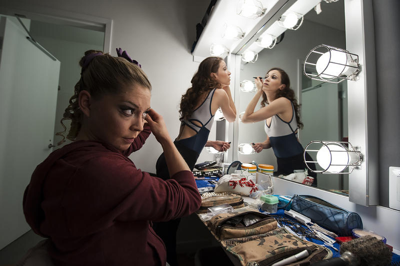 Dancers Molly Wagner and Angelina Sansone share a dressing room as they prepare themselves for their roles.