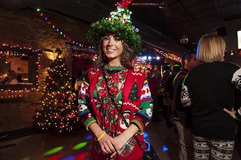 Three battery packs charged the lights for Lindsey Heeter's Christmas tree headpiece.