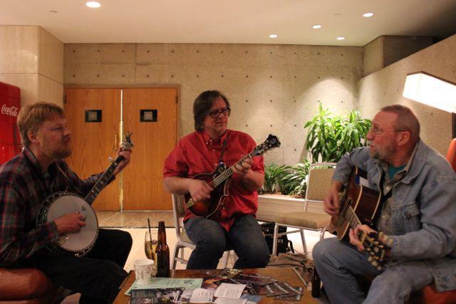 A trio of Kansas City friends jams in the Westin lobby.