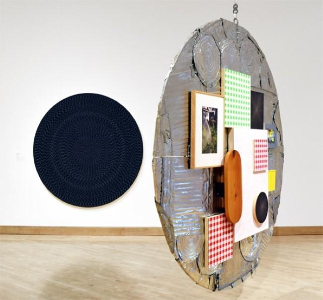 Michelle Grabner and Brad Killam (American, b.1962), Oyster #5, 2013-14, wood, galvanized steel, flashe on panel, fabric on panel, silverpoint and gesso on panel, gramed chromogenic print, oil on canvas, enamel on aluminim, oiled wood, various fasteners.