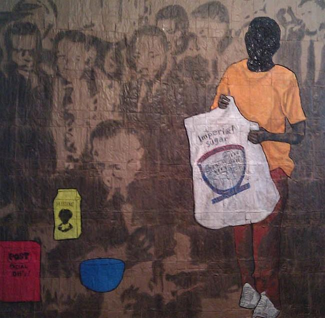 Nathaniel Donnett (American), Sweeten the Deal, 2011, conte, graphite, acrylic, paper bags, 71X71 inches.