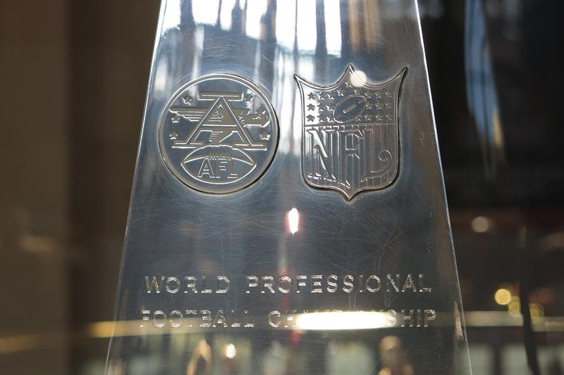 This is the only Lombardi trophy to have both the AFL and NFL insignias etched into it.
