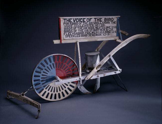 Jesse Howard, 'The Voice of the Bird,' 1960. Paint on corn planter with sign.