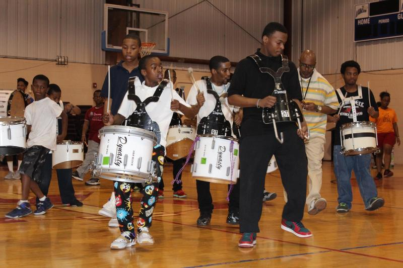 Drummers for The Marching Cobras drill team practice for the upcoming St. Patricks Day parade.