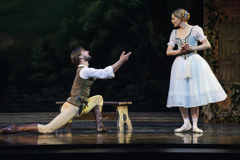 The gamekeeper Hilarion (Logan Pachciarz) implores Giselle (Wagner) not to trust Albrecht.