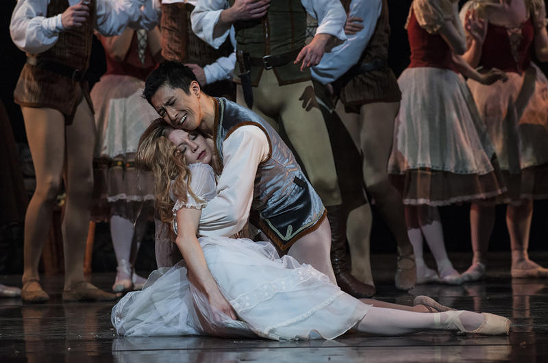 Giselle (Wagner) after discovering that Albrecht (Fu) is engaged to another collapses and dies of a broken heart.