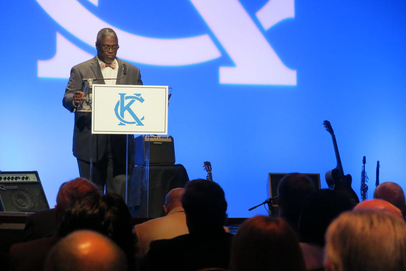 Mayor Sly James thanks outgoing Kansas City, Mo., City Council members for their service at his State of the City address Tuesday.