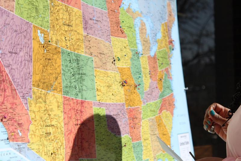 School of Medicine docents stuck colored pins on a map of America to represent the class of 2015's residency assignments.