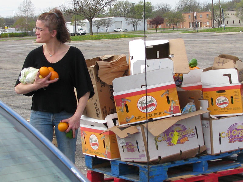 Vickie Judy, 40, of Topeka, took advantage of a recent leftover produce giveaway at the Kansas Expocentre. Judy and her three children, ages 9 to 18, receive $359 in cash assistance and $580 in SNAP food benefits each month.