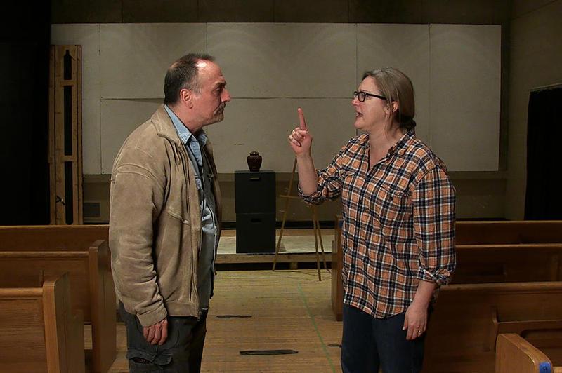Mark Robbins (Reverend Pratt) and Blair Sams (Linda) rehearse a scene from 'Sticky Traps.'
