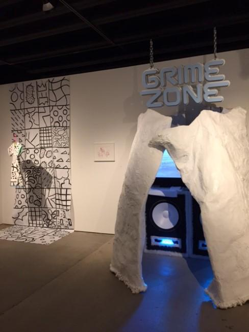 On the right is 'Grime Zone,' by digital filmmaking student Luna URL. On the left is 'Sex & Ice Cream,' by fiber major Nicole Leth.