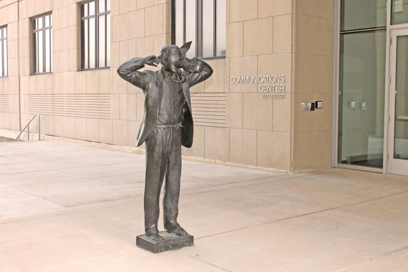 Terry Allen's 'Modern Communication' is now located in front of the new entry to the Communications Center.