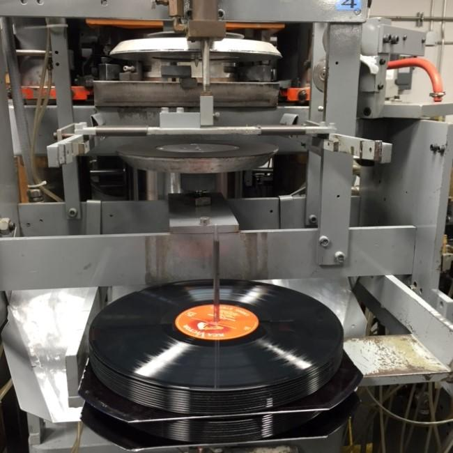 Vinyl hot off the press at Quality Record Pressings in Salina, Kansas.