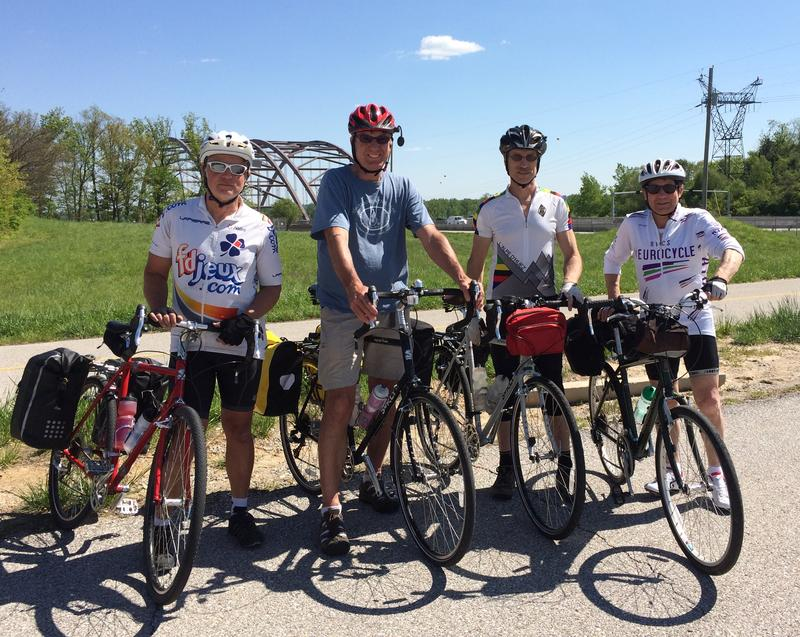 Henry Lazarski (far right) and friends prepare to embark on a week-long ride along the Katy Trail.