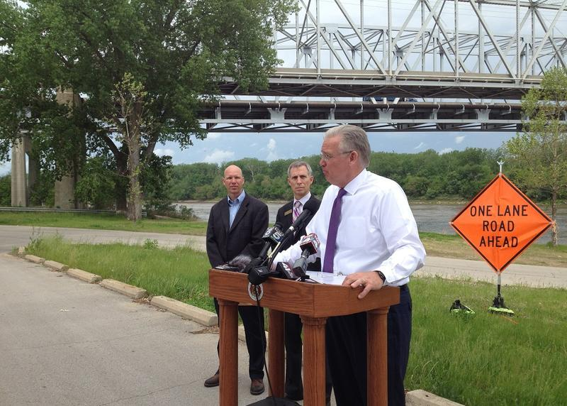 Missouri Gov. Jay Nixon came to Sugar Creek, Missouri to push for a fuel tax increase to help fund the state's transportation budget.