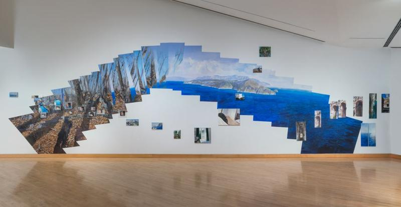 The Fall (Capri): Flashe and latex, Tyvek, canvas, paper, plexiglass, recorded audio components, 2015