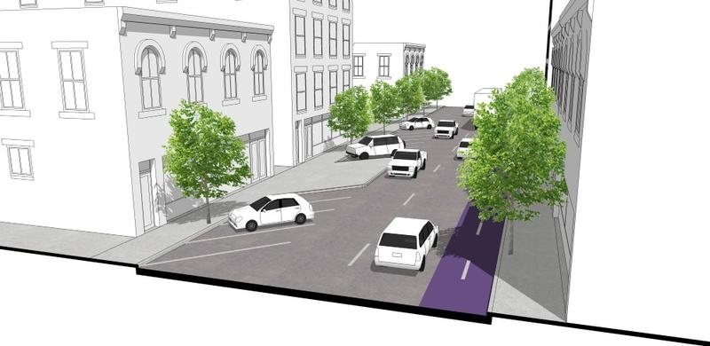 The students recommended five alternate options for 18th Street, including this one, which removes two lanes of traffic and adds parallel parking.