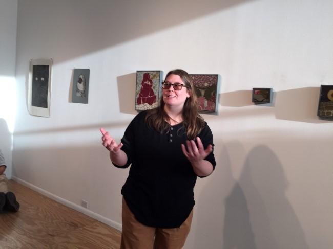 Amy Wright, another artist being critiqued in April, talks about her small paintings.
