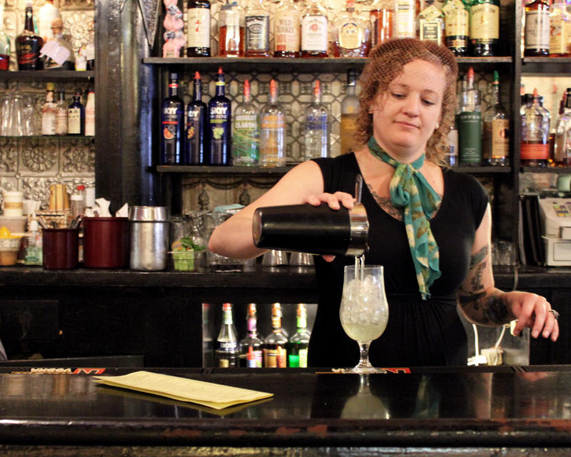 Christi Brunner, bartender at The Brick, pours the Springtime mocktail, her off-menu contribution for the season.